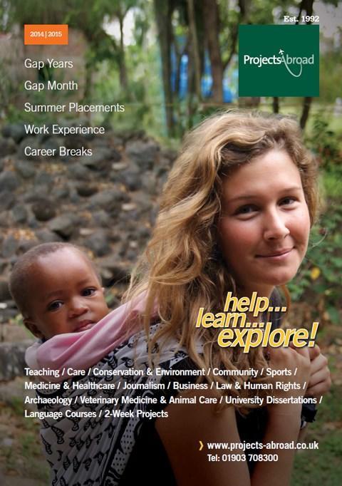 Página principal folleto voluntariado y prácticas