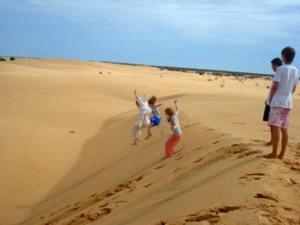 Volunteers on a sand dune