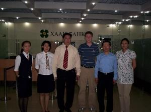 Male volunteer at Mongolian bank