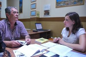 American volunteer Erika Lantz doing an interview