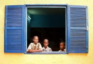 3 pupils in Classroom in Senegal