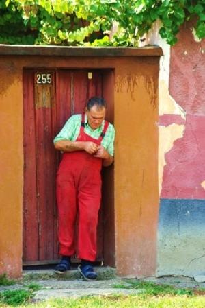 Man in a village