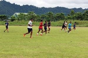 A volunteer on the Rugby placement in Samoa.