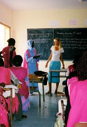 Volunteer teaching an English lesson